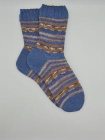 Gestrickte Socken für den Mann in braun blau, Gr. 46/47, Wollsocken, Kuschelsocken, handgestrickt von la piccola Antonella  - Handarbeit kaufen