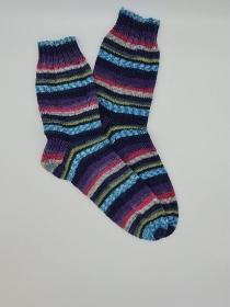 Gestrickte bunte Socken für den Mann, Gr. 42/43, Wollsocken, Kuschelsocken, handgestrickt, la piccola Antonella   - Handarbeit kaufen