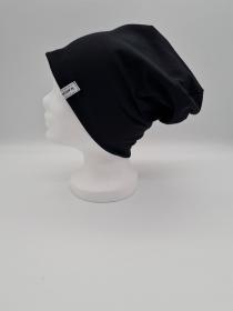 Mütze, einfache Beanie in schwarz aus Baumwolljersey, 2 lagig , handmade by la piccola Antonella   - Handarbeit kaufen