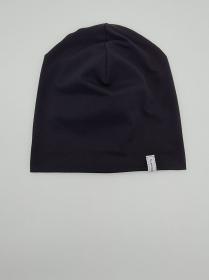 Mütze, einfache Beanie in schwarz aus Baumwolljersey für größere Köpfe, 2 lagig, handmade by la piccola Antonella   - Handarbeit kaufen