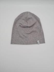 Mütze, einfache Beanie in hellgrau meliert aus Baumwolljersey für größere Köpfe, 2 lagig, handmade by la piccola Antonella   - Handarbeit kaufen