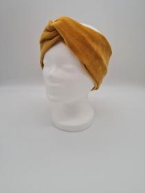 Stirnband Nicki in golden yellow, Knotenstirnband, Turbanstirnband, Bandeau, Haarband, handmade by la piccola Antonella  - Handarbeit kaufen