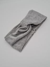 Breiteres Stirnband Nicki in grau, Knotenstirnband, Turbanstirnband, Bandeau, Haarband, handmade by la piccola Antonella    - Handarbeit kaufen