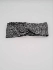 Stirnband aus Strickstoff in grau, Knotenstirnband, Turbanstirnband, Bandeau, Haarband, handmade by la piccola Antonella - Handarbeit kaufen