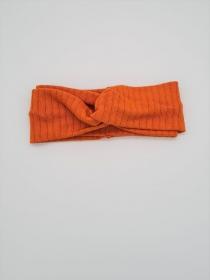 Stirnband aus Strickstoff in orange, Knotenstirnband, Turbanstirnband, Bandeau, Haarband, handmade by la piccola Antonella  - Handarbeit kaufen