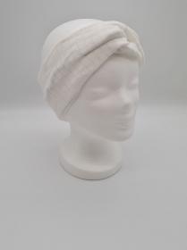 Stirnband aus Strickstoff in naturweiß, Knotenstirnband, Turbanstirnband, Bandeau, Haarband, handmade by la piccola Antonella   - Handarbeit kaufen