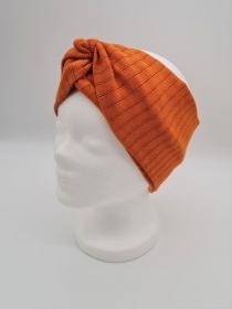 Breiteres Stirnband aus Strickstoff in orange, Knotenstirnband, Turbanstirnband, Bandeau, Haarband, handmade by la piccola Antonella   - Handarbeit kaufen