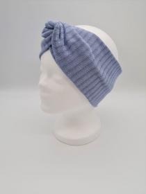 Breiteres Stirnband aus Strickstoff in hellblau, Knotenstirnband, Turbanstirnband, Bandeau, Haarband, handmade by la piccola Antonella   - Handarbeit kaufen