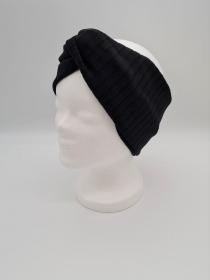 Breiteres Stirnband aus Strickstoff in schwarz, Knotenstirnband, Turbanstirnband, Bandeau, Haarband, handmade by la piccola Antonella   - Handarbeit kaufen