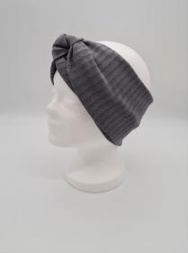 Breiteres Stirnband aus Strickstoff in grau, Knotenstirnband, Turbanstirnband, Bandeau, Haarband, handmade by la piccola Antonella   - Handarbeit kaufen