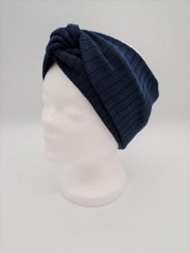 Breiteres Stirnband aus Strickstoff in blau, Knotenstirnband, Turbanstirnband, Bandeau, Haarband, handmade by la piccola Antonella   - Handarbeit kaufen