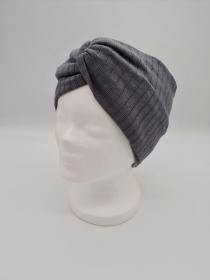 Breites Stirnband aus Strickstoff in grau, Knotenstirnband, Turbanstirnband, Bandeau, Haarband, handmade by la piccola Antonella    - Handarbeit kaufen