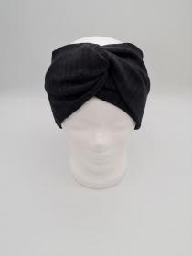 Breites Stirnband aus Strickstoff in schwarz, Knotenstirnband, Turbanstirnband, Bandeau, Haarband, handmade by la piccola Antonella   - Handarbeit kaufen