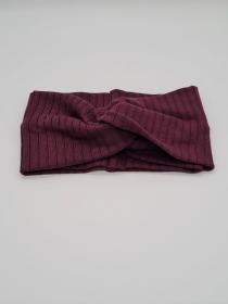 Breites Stirnband aus Strickstoff in weinrot, Knotenstirnband, Turbanstirnband, Bandeau, Haarband, handmade by la piccola Antonella   - Handarbeit kaufen