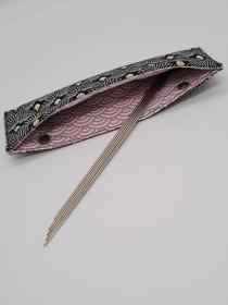 Stricknadelgarage , Stricknadeltasche in schwarz gold, Aufbewahrung für Nadelspiel 20 cm, handmade la piccola Antonella  - Handarbeit kaufen