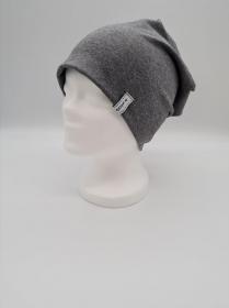Mütze, einfache Beanie in dunkelgrau meliert aus Baumwolljersey, 2 lagig , handmade by la piccola Antonella    - Handarbeit kaufen