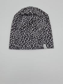 Mütze, einfache Beanie mit Leo Print in grau schwarz aus Baumwolljersey für größere Köpfe, 2 lagig , handmade by la piccola Antonella  - Handarbeit kaufen