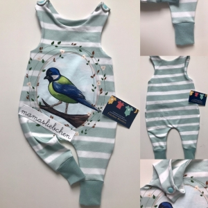 Strampler Vögelchen Hellblau Größe 56 hellblau - Handarbeit kaufen