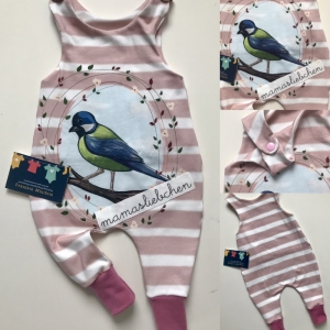 Strampler Vögelchen Jersey rosa Größe 56 - Handarbeit kaufen