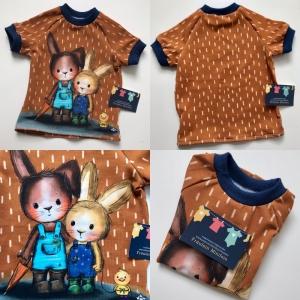 T-Shirt Hasen Jersey braun Größe 80 - Handarbeit kaufen
