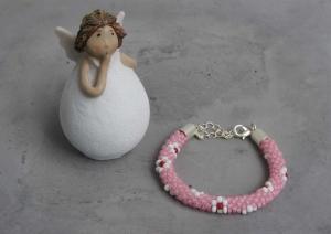 handgefertigtes Perlenarmband für Kinder * rosa mit weiß-roten Blumen - Handarbeit kaufen