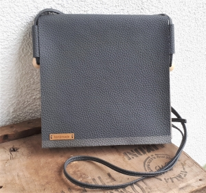 handgefertigte vegane Handtasche aus Waschpapier und Kunstleder * anthrazit - grau