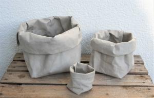 handgemachte Utensilos / Körbe aus Waschpapier / Lederimitat * Größe S