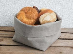 handgemachter Brotkorb aus Waschpapier / Lederimitat * Größe L