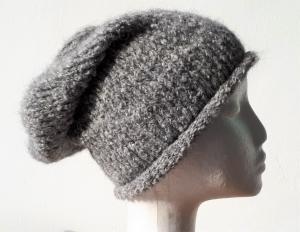 superweiche selbstgestrickte Roll-Mütze * grau *  Größe  56 - 59 cm