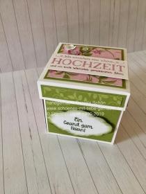 Explosionsbox in grün/beere zur Hochzeit (10 x 10 cm) - Handarbeit kaufen