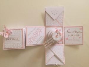 Explosionsbox in rosa/weiß zur Hochzeit (10 x 10 cm) - Handarbeit kaufen