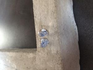 Betonschmuck Ohrstecker Ohrringe silber blau Geschenk