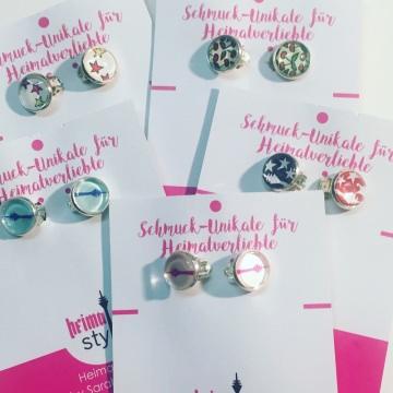 1x Paar Ohrclips für Heimatverliebte, Keine Löcher nötig, Rheinturm, Sterne, Kirschen