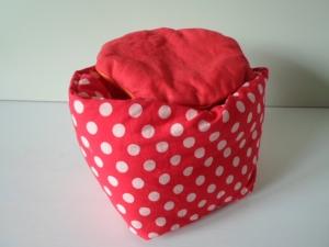 Eierkörbchen/ Eierwärmer *Fuoco* Baumwolle rot mit Deckel nach Wahl von friess-design  - Handarbeit kaufen