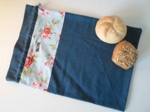 Brotbeutel *Romantico blu* Baumwolle blau von friess-design mit Kordel