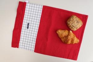 Brotbeutel *Amore* Baumwolle rot/ grau von friess-design mit Kordel