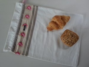 Brotbeutel *Rose* Baumwolle weiß von friess-design mit Kordel