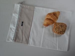 Brotbeutel *Farina beige* Baumwolle weiß von friess-design mit Kordel - Handarbeit kaufen