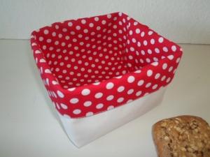 Brotkorb *Puntini rosso* Baumwolle weiß quadratisch, sehr fest von friess-design