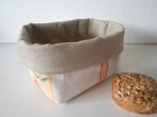 Stoffkorb/ Brotkorb *Soggiorno* Baumwolle beige sehr fest von friess-design  - Handarbeit kaufen
