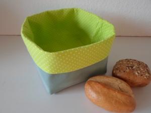 Stoffkorb/ Brotkorb *Genova* Baumwolle grün quadratisch, sehr fest von friess-design  - Handarbeit kaufen
