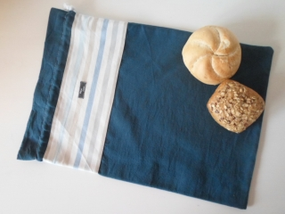 Brotbeutel *striscio blu* Baumwolle blau von friess-design mit Kordel