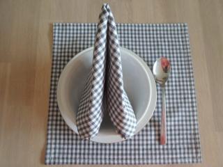 Stoffservietten Baumwolle Karo grau/weiß, 2er-Set von friess-design - Handarbeit kaufen