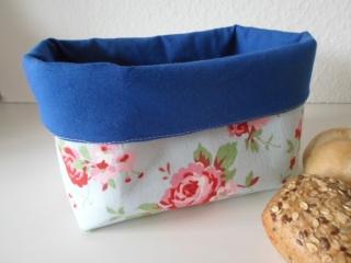 Brotkorb *Venezia* blau/ Rosenmuster Baumwolle (sehr fest) von friess-design