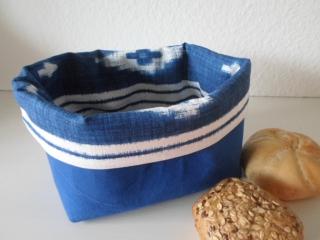 Stoffkorb/ Brotkorb *Cagliari* blau gemustert Baumwolle (sehr fest) von friess-design  - Handarbeit kaufen