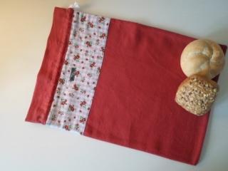 Brotbeutel *Bavaria* Baumwolle rot von friess-design mit Kordel