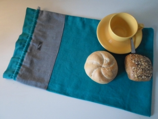 Brotbeutel *de luxe* Leinen türkis/ grau