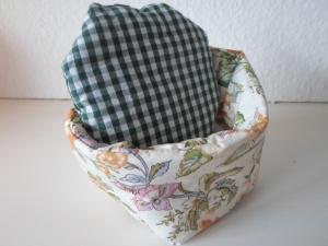 Eierkörbchen/ Eierwärmer *Viticcio* Baumwolle Blumenmuster von friess-design mit Deckel nach Wahl