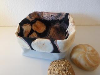 Brotkorb *Piemont* Holzoptik beige Baumwolle quadratisch (sehr fest) von friess-design  - Handarbeit kaufen