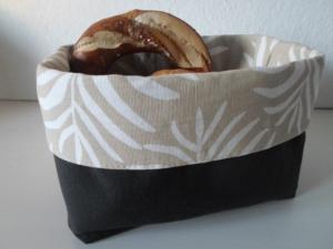 Stoffkorb/ Brotkorb *Bolzano* Baumwolle schwarz/ beige mittel, sehr fest von friess-design  - Handarbeit kaufen